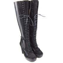 K-GY3336 New Givenchy Black Suede Horse Fur High Knee Shoes Boots Size 8.5 38.5 - $429.99