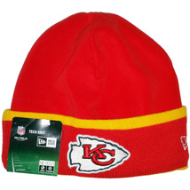 KANSAS CITY CHIEFS New Era On Field Tech Knit 2014 Sideline Cuffed Bean... - $652,71 MXN