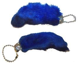 12 BLUE COLORED RABBIT FOOT KEY CHIANS novelty bunny fur hair feet ball ... - $11.69