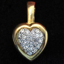 Vintage Bright Two Tone Gold Plated Ge Clear Rhinestone Heart Pendant*27... - $9.89