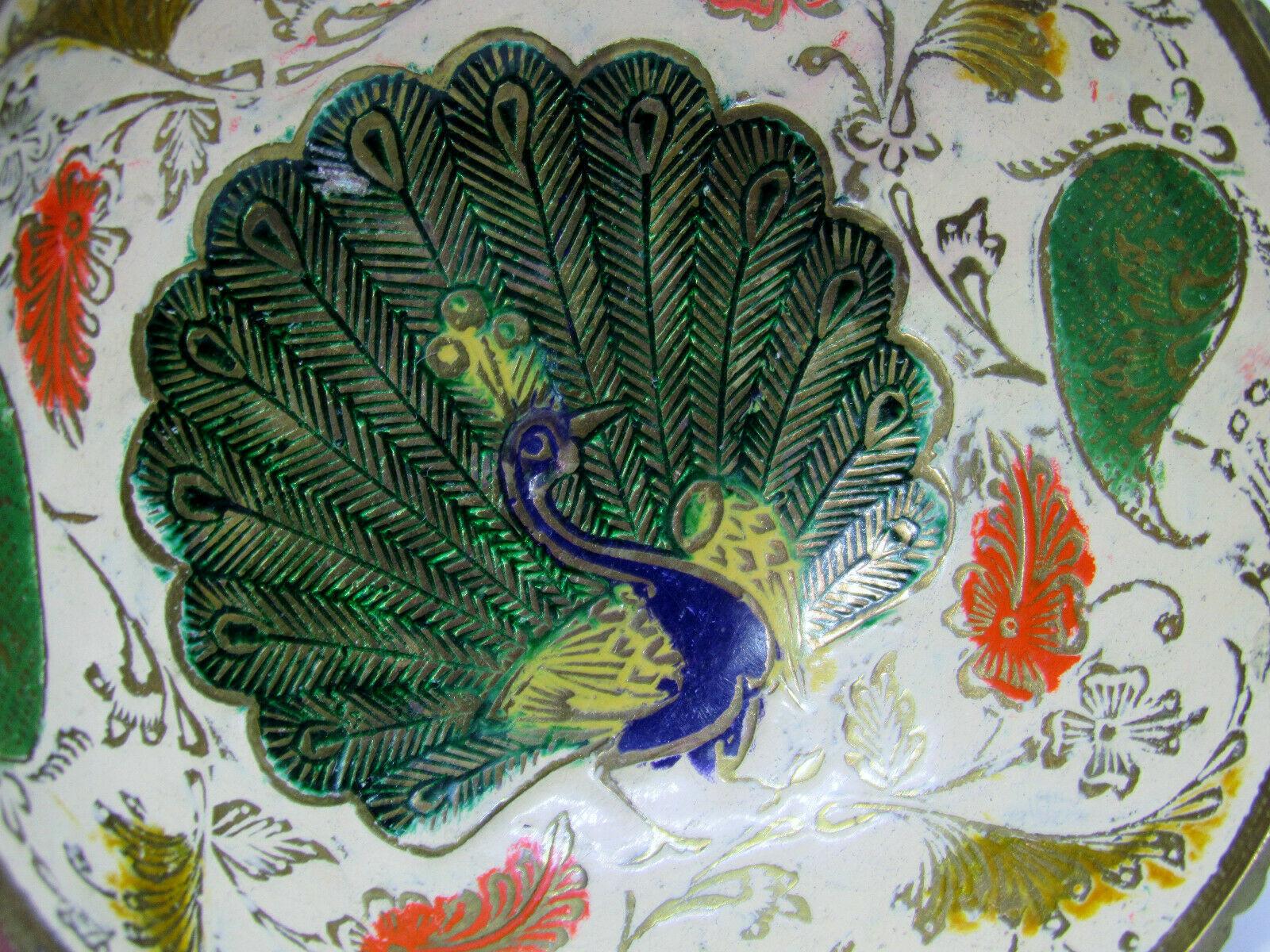 Vintage Brass Ornate Peacock Enameled Bowl on Pedestal image 2