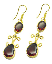 Red Gold Plated Fashion excellent Ruby CZ generally Earring UK gift - $18.44