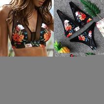 Women's Floral Printing PushUp Padded Bra Beach Bikini Set Swimwear Beachwear F image 14