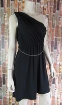 SPENSE Petite Black One Shoulder Tassel Chain Belted Knit Dress NWD 4P - $7.25