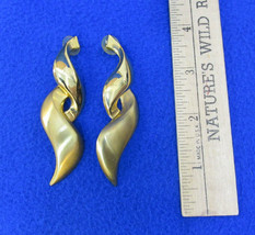 Spiral Earrings Stud Gold Tone Metal Dangle Brushed Polished Vintage Pie... - $6.92
