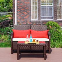 2 PC Bistro Rattan Loveseat Sofa Set Outdoor Wicker Patio Garden with Table - $179.99