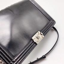 AUTHENTIC CHANEL BLACK LARGE GLAZED BOY FLAP BAG SHW image 5