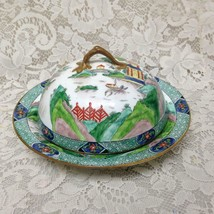 Antique Crown Staffordshire Gaudy Blue Willow Pancake - Covered Dish 8.5... - $153.09