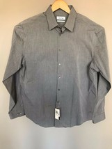 NWT Mens CALVIN KLEIN Gray w/Stripes Slim Fit L/S Dress Shirt  16.5 34-35 $69.50 - $24.75