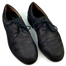 Rockport Oxford Shoes Mens Size 11 Wide Black Suede Plain Toe Leather Upper - $29.65