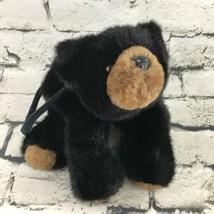 The Bearington Collection Black Bear Tote Bag Plush Soft Zipper Pouch Teddy - $9.89