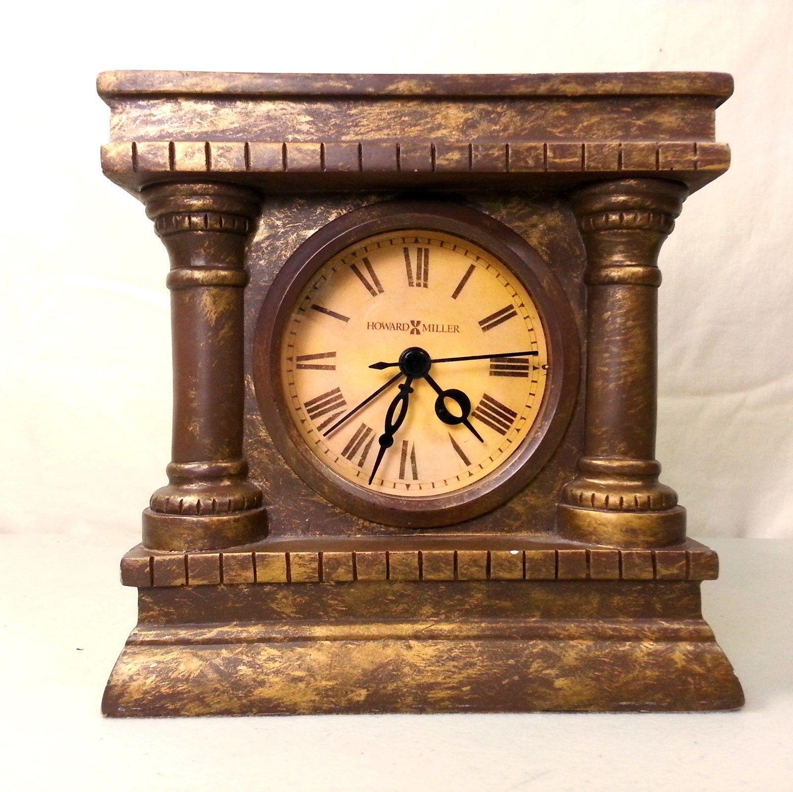 Howard Miller Mantel Clock Bronze Look   Classic Greco Roman Motif With  Columns   $29.99