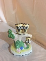 Three Owl on Tree One Upside Down Figurine with Caption No Ones Perfect ... - $15.43