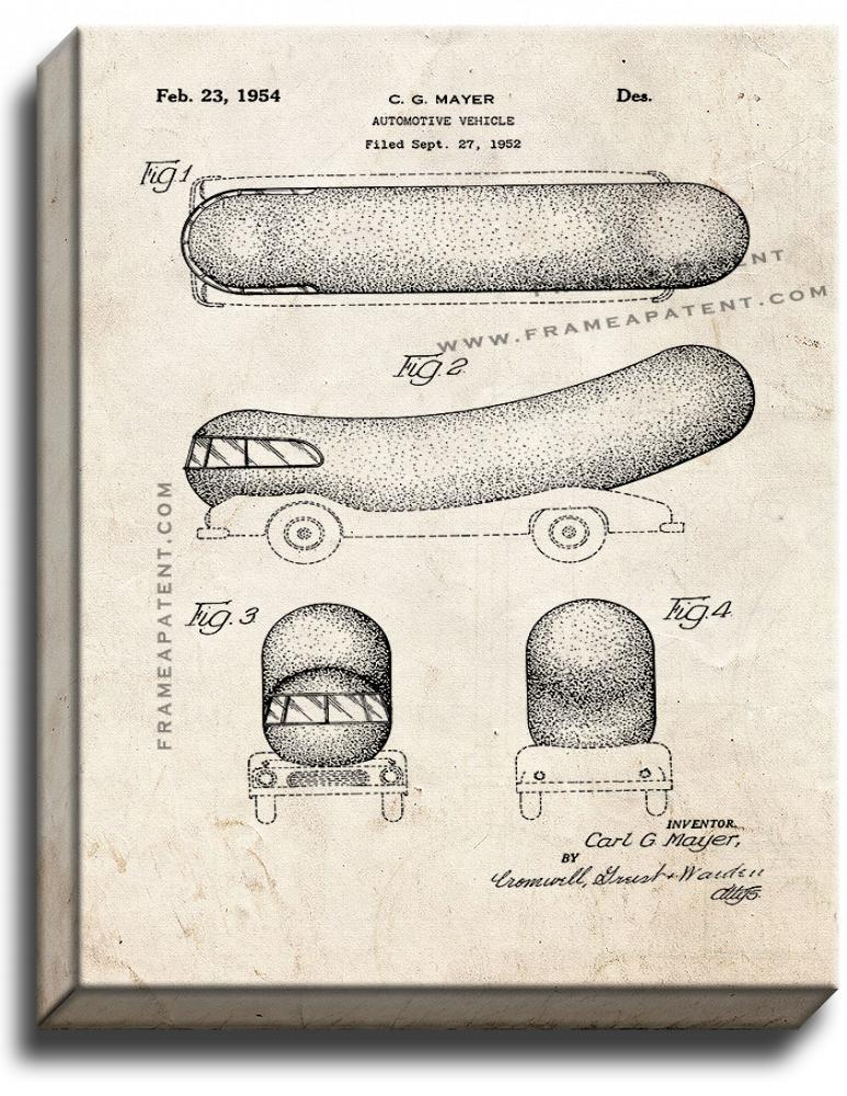 Primary image for Oscar Mayer Wienermobile Patent Print Old Look on Canvas