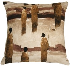 Pillow Decor - Masai Warrior 22x22 Brown Throw Pillow - £61.25 GBP