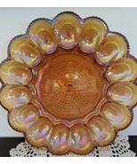 "Vintage~Carnival Glass Deviled Egg ~ Oyster Dish ~ Iridescent ~ 9.5"" Amb... - $50.00"