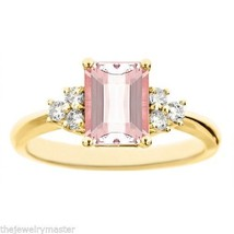 MORGANITE & DIAMOND ENGAGEMENT RING EMERALD CUT 8x6mm YELLOW GOLD 1.... - €922,57 EUR