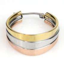 Contemporary Tri-Color Silver, Gold & Rose Tone Hoop Earrings- United Elegance image 3