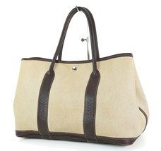 Authentic HERMES Toile H Beige and Brown Garden Party Tote Bag Purse #34835 - $495.00