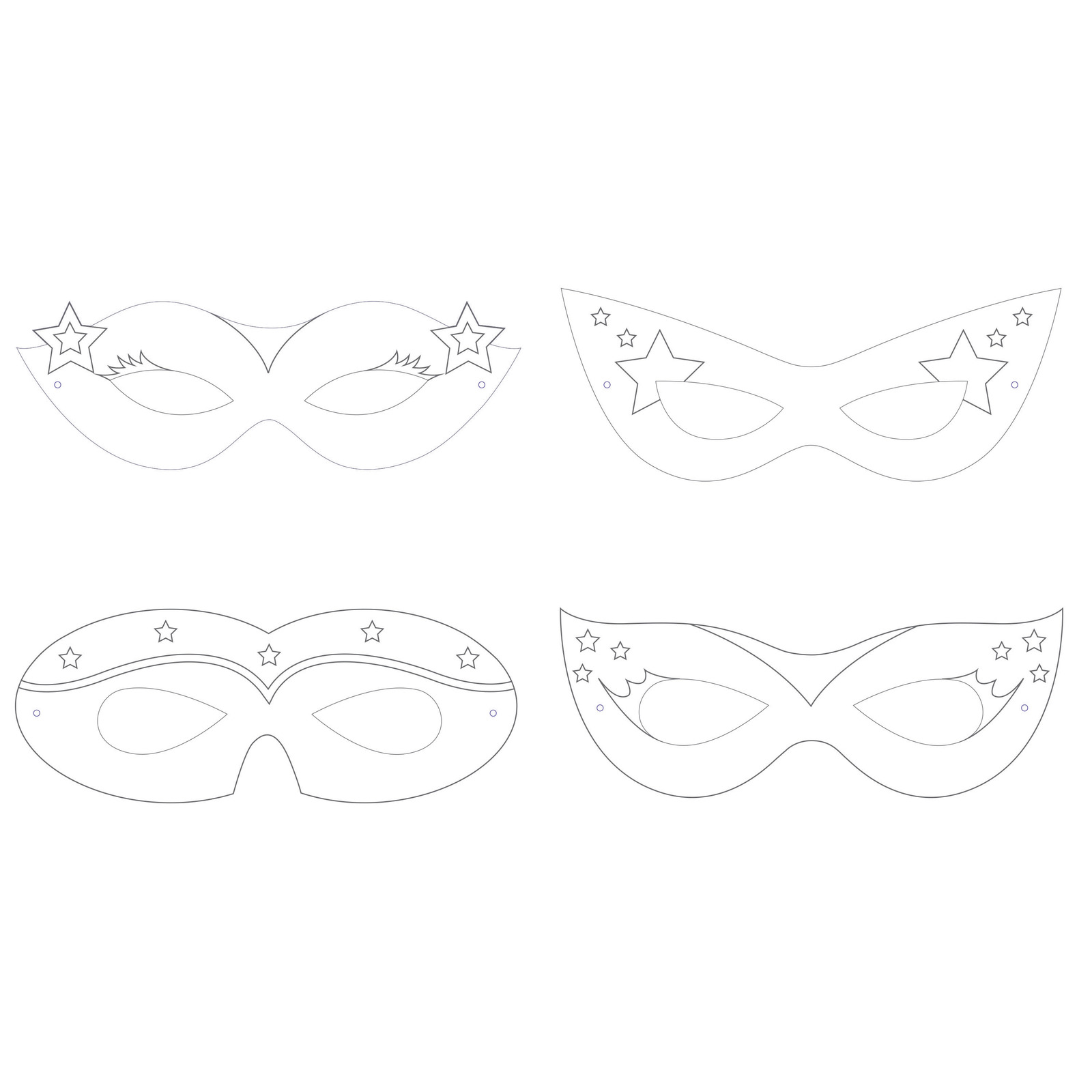 "Girl Superhero 2 3/8"" x 6 3/8"" 4 Designs Color Your Own Mask, Case of 72"