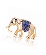 Gold Plated Elephant Brooch Pins Animal Enamel Lapel Pin Handmade Craft ... - $17.45