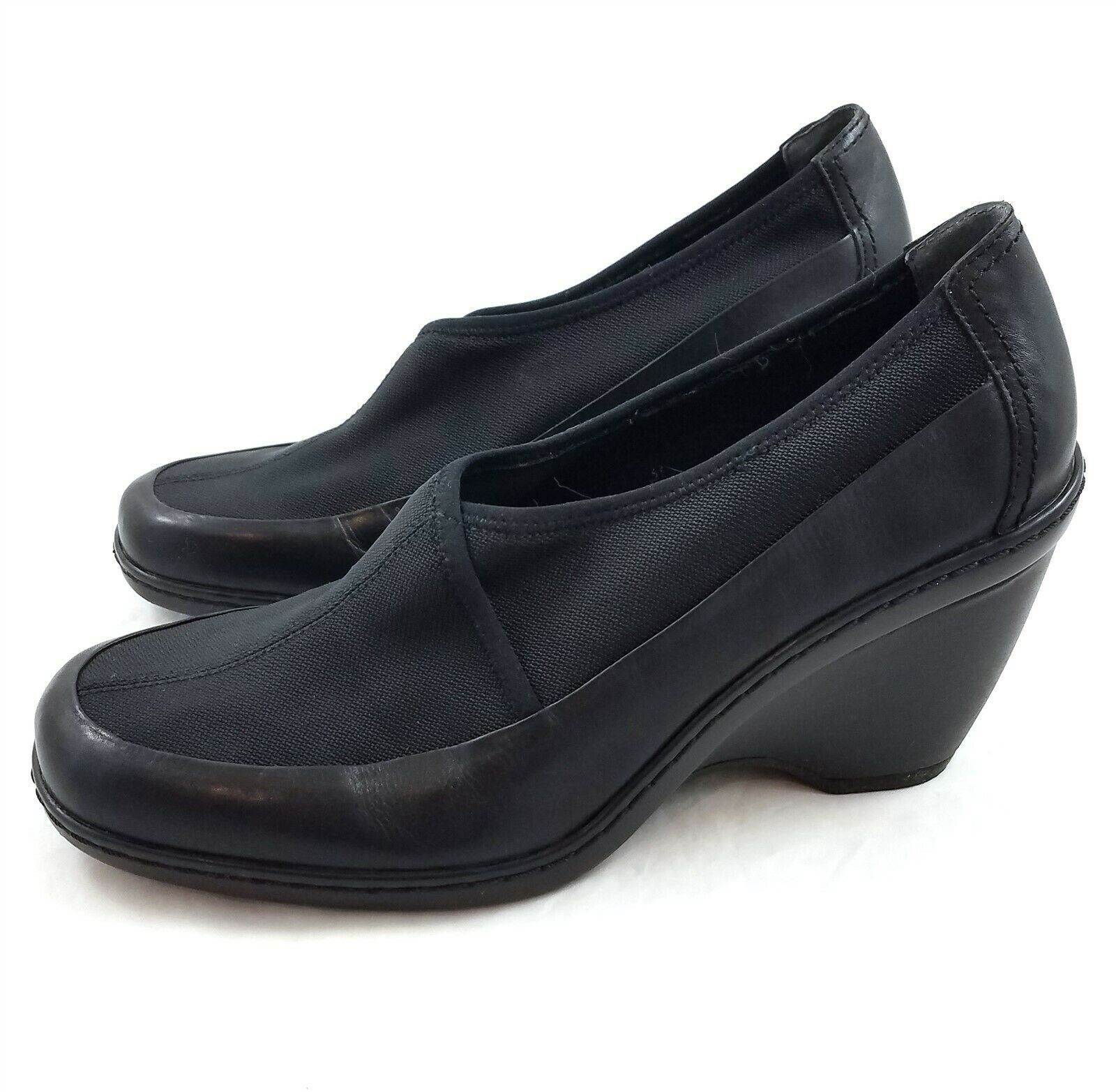 Easy Spirit Escakewalk Black Leather Textile Bootie Slip On Wedge Heels Womens 9 - $29.54