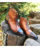 NEW Handmade Men's Brown Leather boot, Men's Lace up Cap Toe Ankle High Fashion - $169.99 - $179.99
