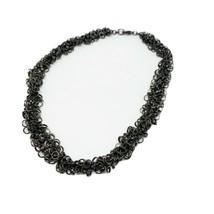 "Circle Link Choker Necklace Link Fashion 16"" Metallic Brown Liquid Metal Chunky - $12.61"