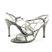 Stuart Weitzman Cosacrobat Silver Cosmic Serpent Leather Strappy Heels 10 NIB - $108.41