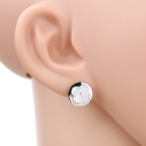 UE-Silver Tone Designer Earrings With Trendy Clover & Faux Mother-Of-Pearl Inlay - $15.99
