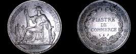 1906-A French Indo-China 1 Piastre World Silver Coin - Vietnam - $249.99