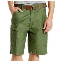Levi's Men's Premium Cotton Cargo Shorts With Belt Relaxed Fit Green 232430002