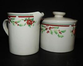 Majesticware Sakura Poinsettia Delight Christmas Holiday Creamer Sugar Bowl 1997 - $34.64