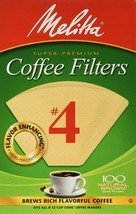Melitta 624602#4 8 To 12 Cup Natural Brown Cone Coffee Filters 100 Count - $10.36