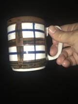 5 1970s Otagiri Hand-painted PLAID STRIPE Stoneware 8 Oz Coffee Mugs Japan - $45.60