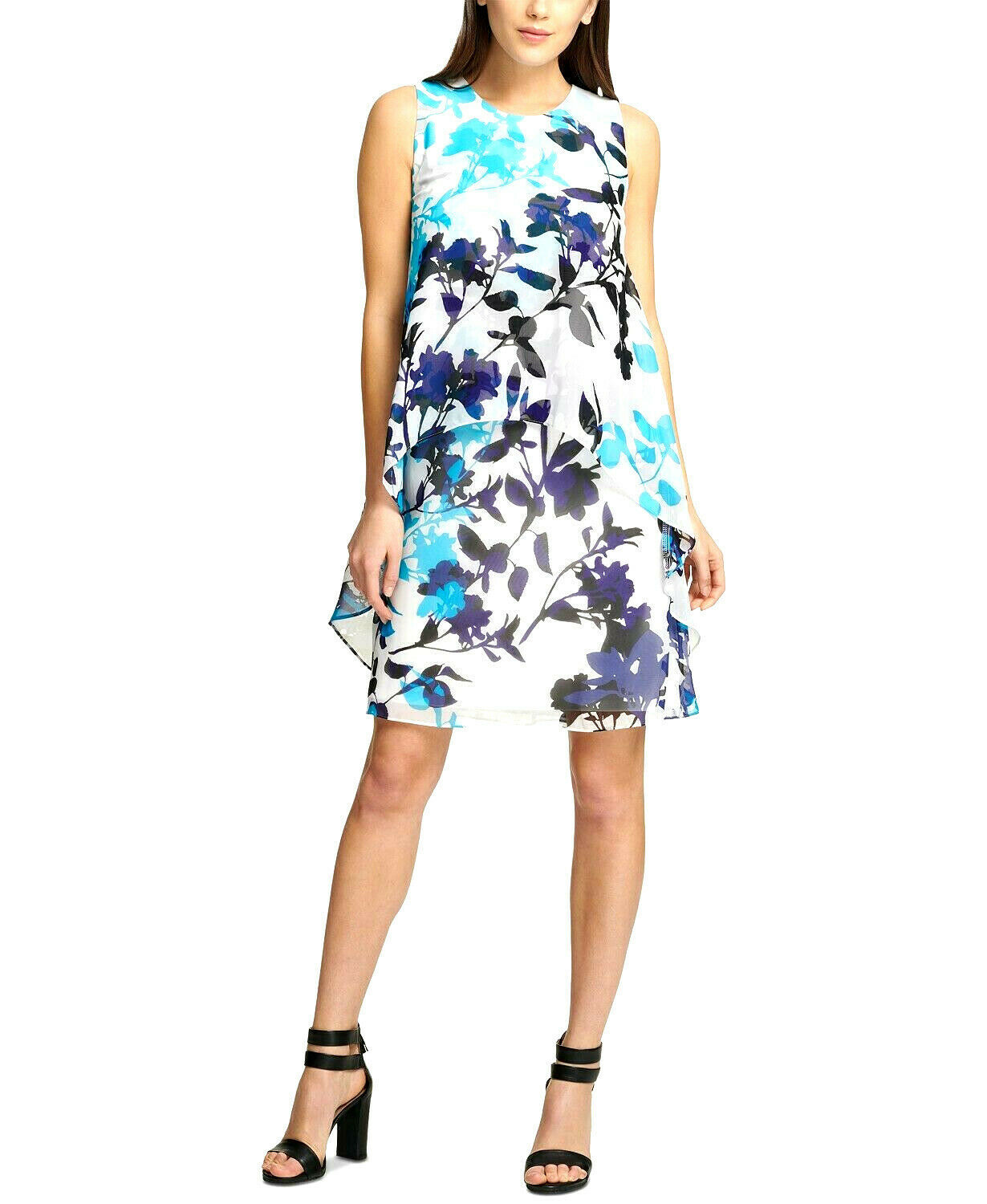 Primary image for DKNY Women's Turquoise Blue Multi Floral-Print Swing Trapeze Dress Size 12 $129
