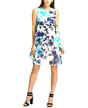 DKNY Women's Turquoise Blue Multi Floral-Print Swing Trapeze Dress Size 12 $129 - $19.05