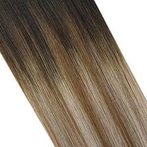 JoYoung Human Hair Halo Extensions for Women 14inch 80g Darkest Brown Ombre to M image 3