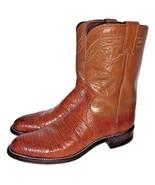 Justin Mens Cognac Brown Lizard Roper Brown Western Cowboy Leather Boots... - $284.99