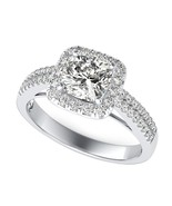 1CT Colorless Cushion Cut Moissanite 14K Solid White Gold Halo Anniversa... - $308.00