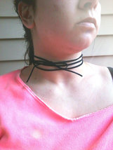 Triple Wrapped Choker Bolo Necklace Black Suede Bow Choker Necklace Trip... - $32.00+