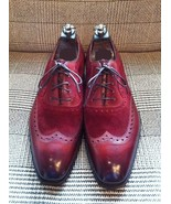 Handmade Men wingtip burgundy color shoes, Men suede and leather dress s... - $159.99