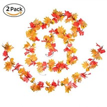 """DearHouse 78"""" Artificial Maple Leaf and Pumpkins Garland Decorated Maple... - $321,08 MXN"""