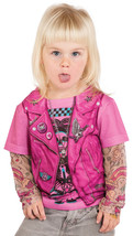 FAUX REAL TODDLER PINK BIKER GIRL MOTORCYCLE TATTOO COSTUME CUTE BABY SI... - $24.99