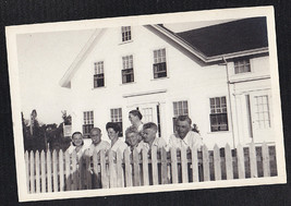Antique Vintage Photograph Group of People Standing By House Looking Ove... - $5.35