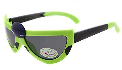 Hot Sale Seven-Spotted Ladybugs Folding Baby Sunglasses-Green Frame