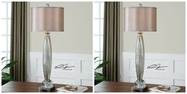 "PAIR 37"" BRUSHED NICKEL MERCURY GLASS TABLE LAMP SILKEN SHADE CRYSTAL DE... - $435.60"