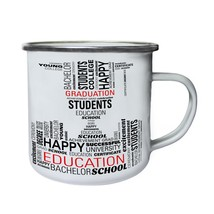 New Student Silhouette Words Retro,Tin, Enamel 10oz Mug h883e - $13.13