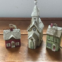 Estate Lot of 3 Hallmark White Church & Red & Green Houses Chris... - $18.49