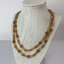 """Joan Rivers Amber Rose Tone Glass Beaded 42"""" Necklace 2R1-65 - $19.26"""